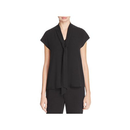 Eileen Fisher Long Silk - Eileen Fisher Womens Silk Neck Tie Blouse