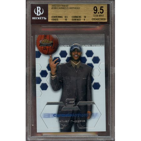 2002 03 Finest  180 Carmelo Anthony Rookie Card Bgs 9 5  9 5 10 10 9