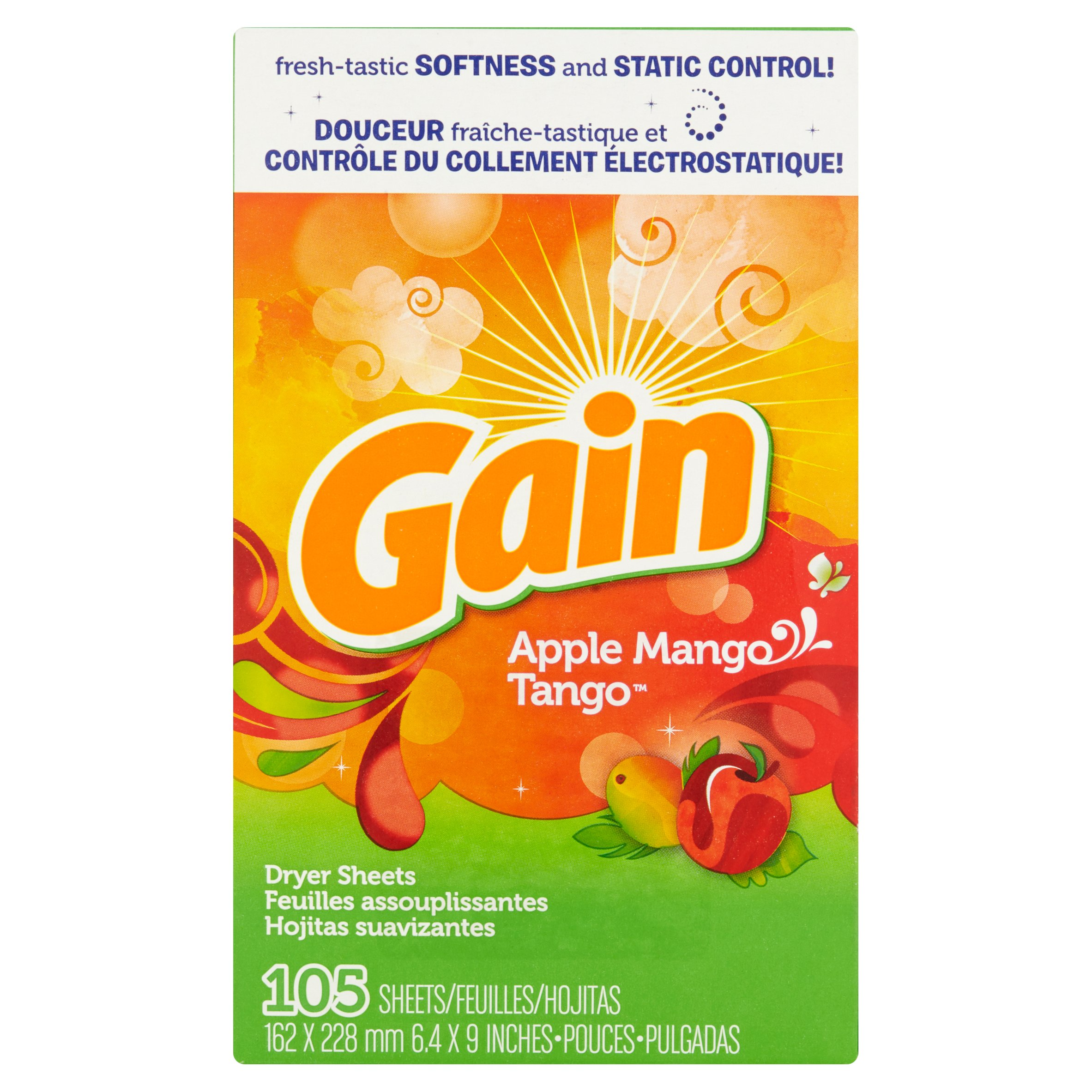 Gain Dryer Sheets, Apple Mango Tango, 105 Sheets
