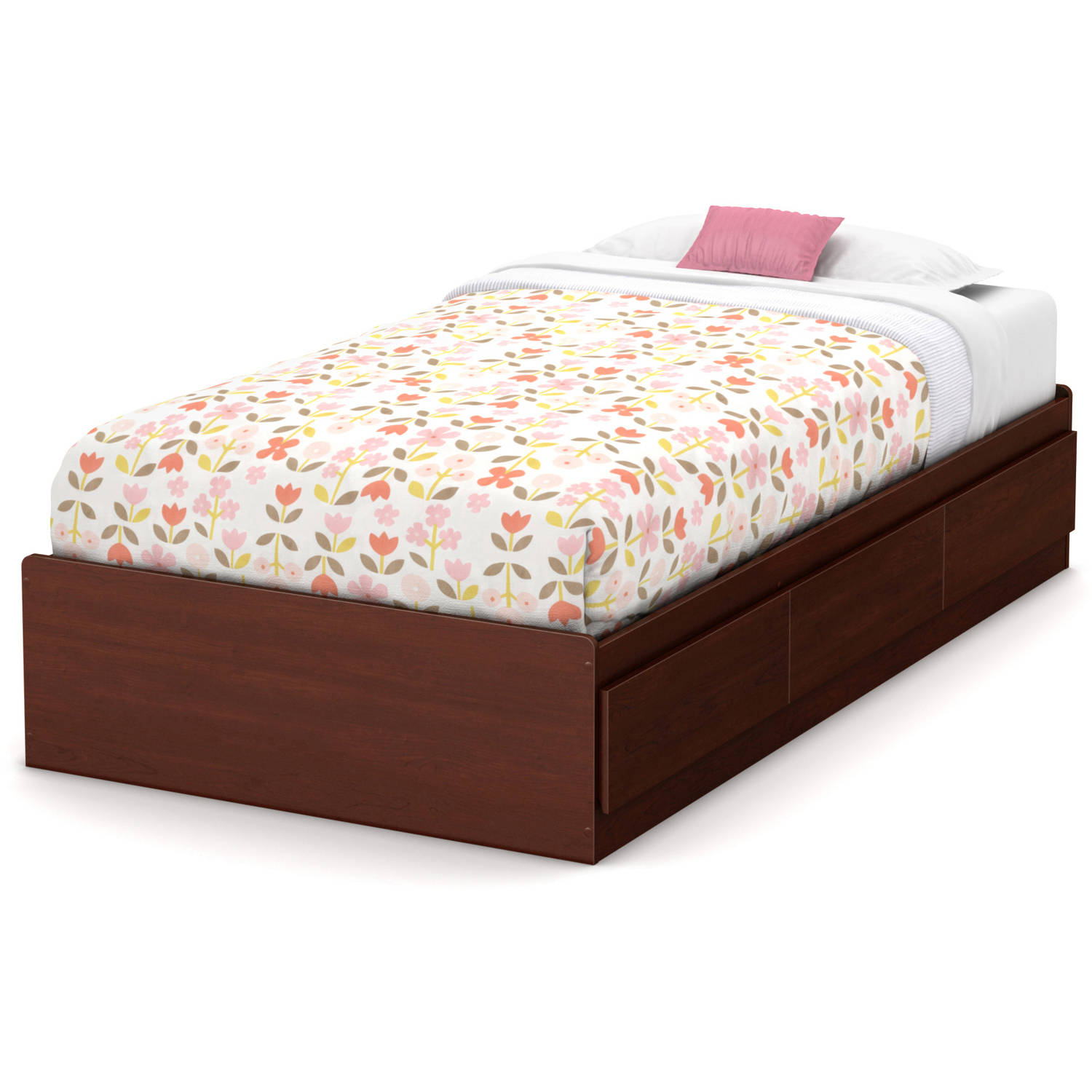 South Shore Little Treasures Twin Mates Bed with 3 Drawers, 39'', Royal Cherry
