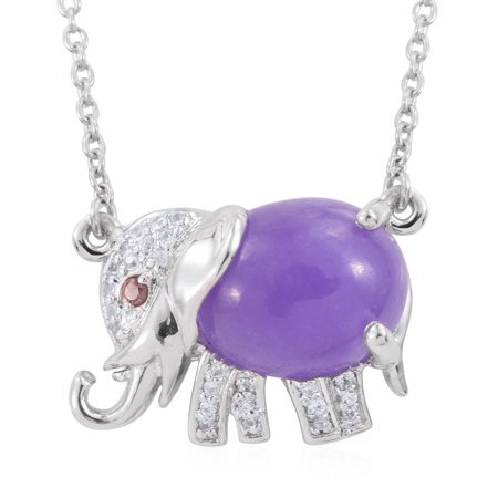 - 925 Sterling Silver Platinum Plated Oval Purple Jade Multi Gemstone Elephant Necklace for Women 18