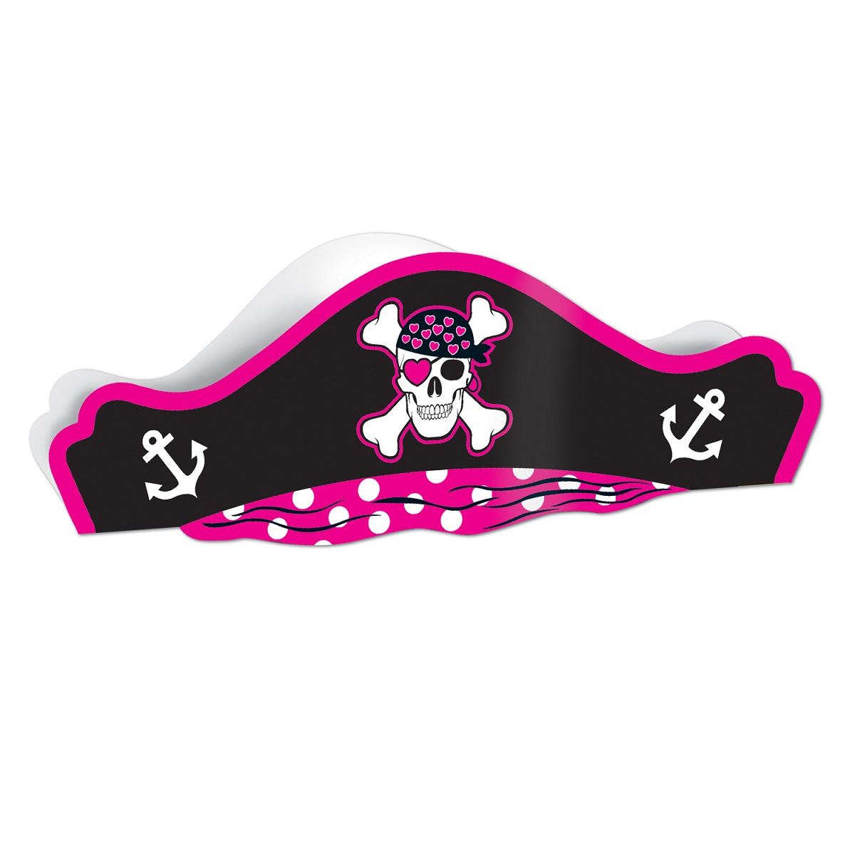 Club Pack of 48 Pink, Black and White Printed Pirate Hat Costume Accessories