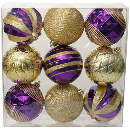 holiday time christmas ornaments traditional 100mm shatterproof set of 9 purple gold - Purple And Gold Christmas Decorations