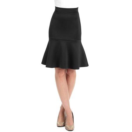 - WT1471 Womens High Waist Bodycon Fishtail Midi Skirt XL Black