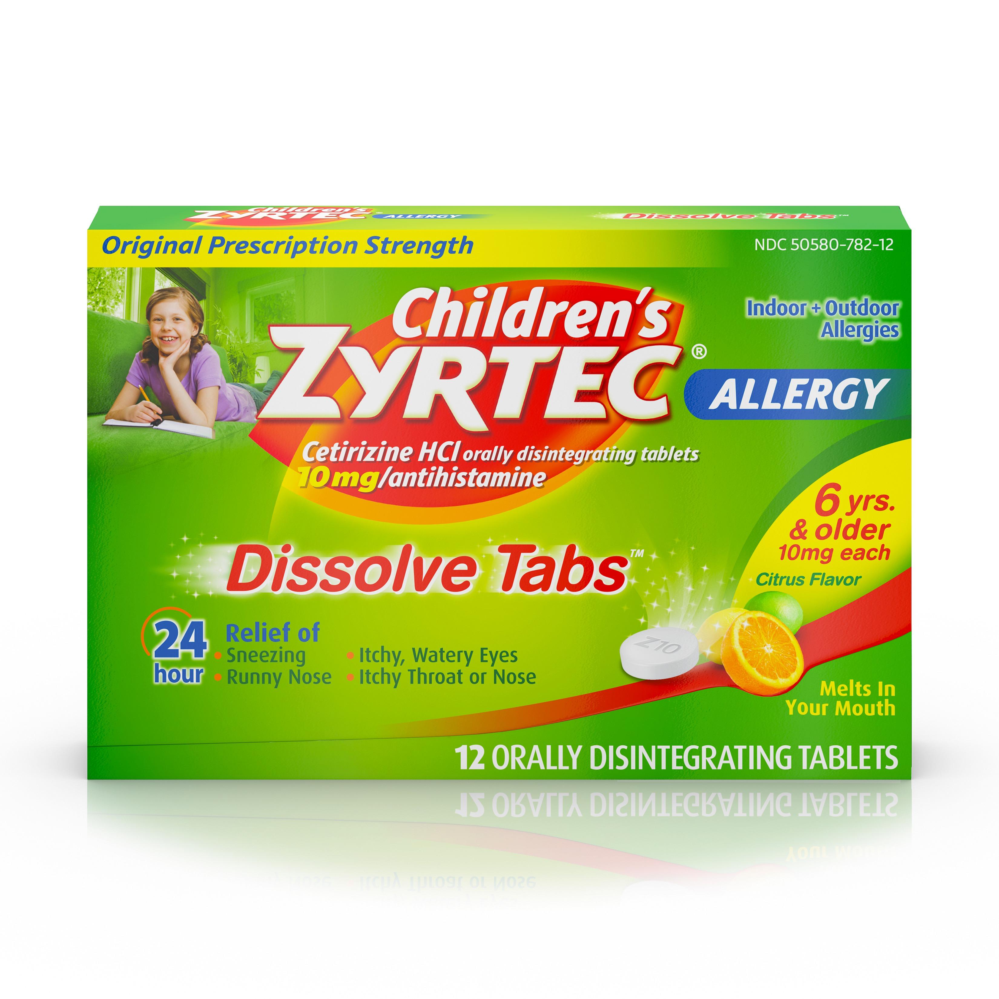 Children's Zyrtec 24 Hr Allergy Dissolve Tablets, Citrus Flavor, 12 ct
