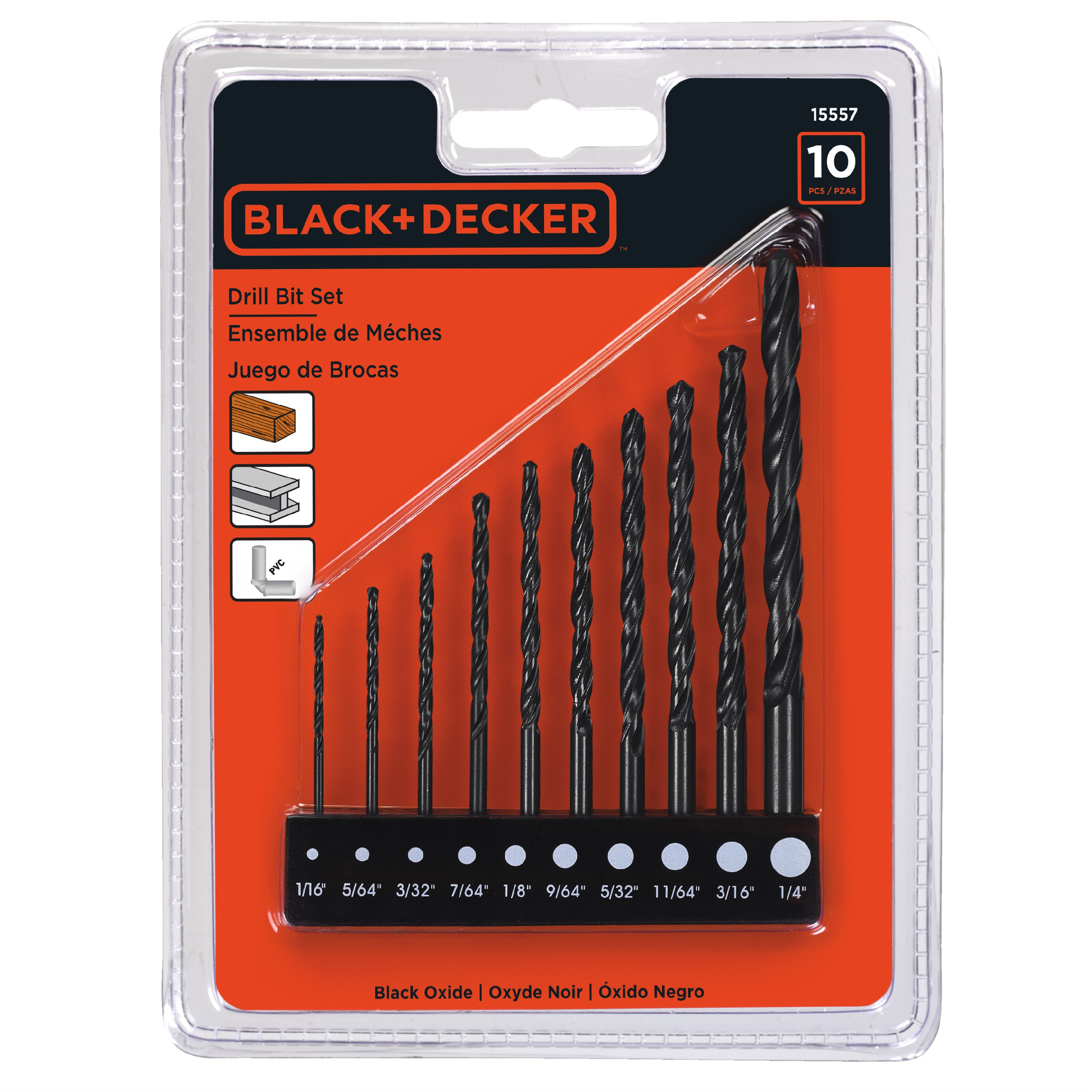 BLACK+DECKER 15557 10pc Drill Bit Set