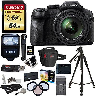 Panasonic LUMIX DMC FZ300 4K Point and Shoot Camera with Leica DC Lens 24X Zoom Black + Polaroid Accessory Kit + 64GB SD Card + 50 Tripod + Ritz Gear Bag + Battery + Charger + Filter + Cleaning