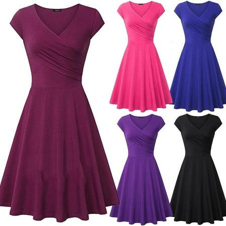 Women Fashion Slim Tunic Dress Solid Color Short Sleeve V-neck Knee Length Short Dress A-line Pleated Party Dress - Pink Marilyn Monroe Dress