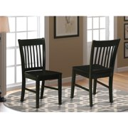 East West Furniture Norfolk Dining chair with Wood Seat  -Oak Finish.-Finish:Black,Style:Wood Seat