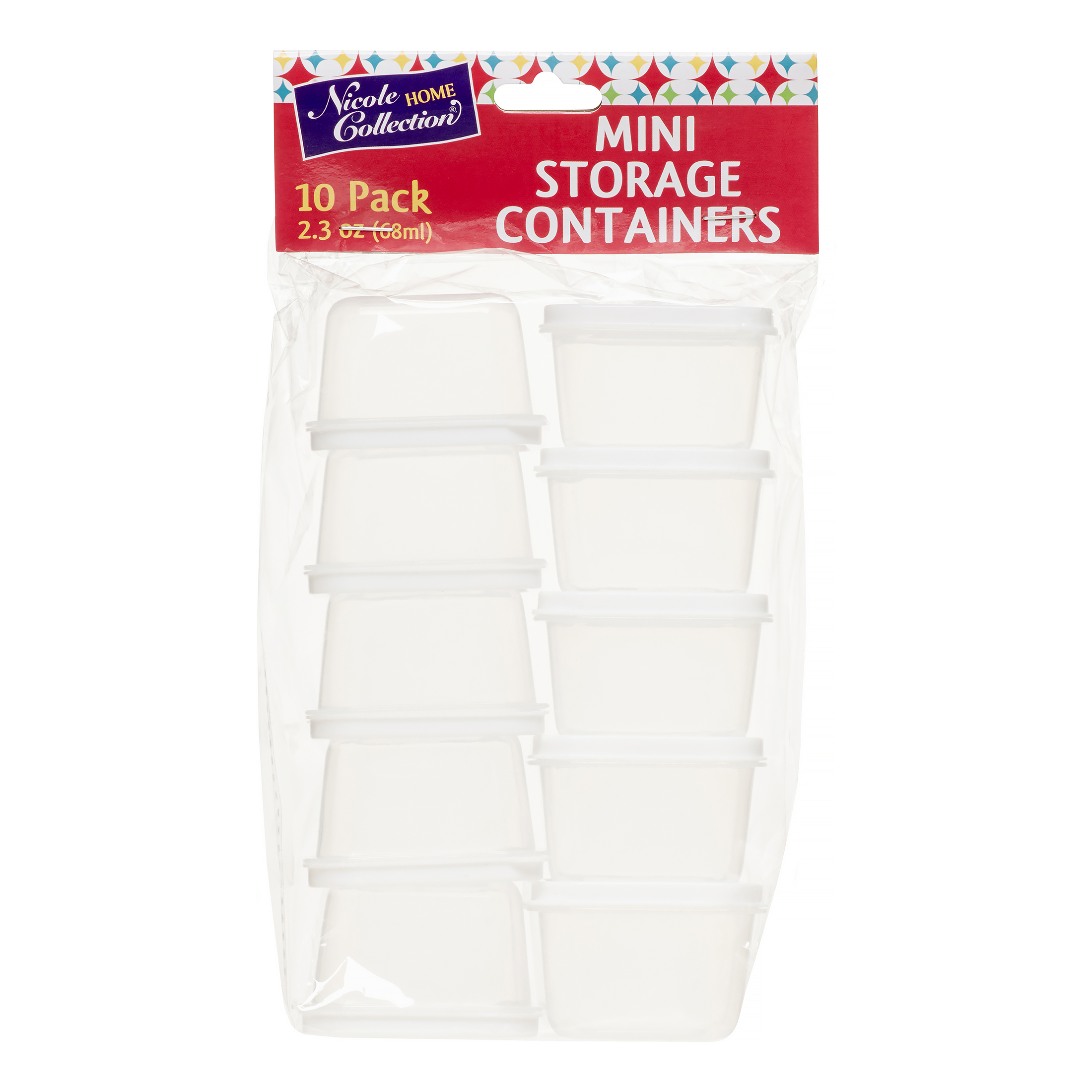 KingZak Nicole Home Collection Mini Containers with Lids, Rectangular, 2.3 Oz, White, 10 Ct