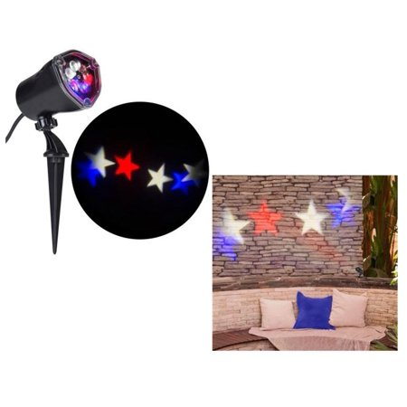 Americana Patriotic Red White & Blue Stars Whirl a Motion LED Projector Light for July 4th!, Projects images of red, white, and blue stars that move in a circular.., By Gemmy