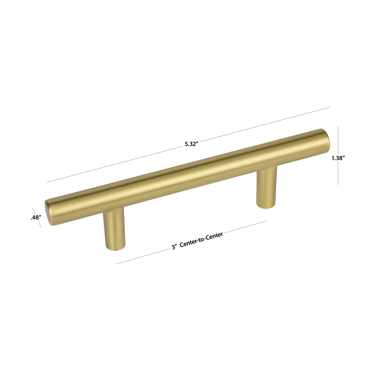 Cabinet Hardware 4 Pack 5 Bar 3 In Center To Center Brushed Brass Bar Cabinet Door Pull Home Garden Mbln Org