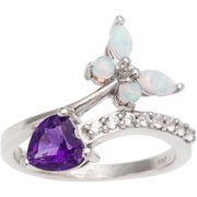 Malin + Mila Sterling Silver Amethyst and Created Opal Heart and Butterfly Ring - Purple