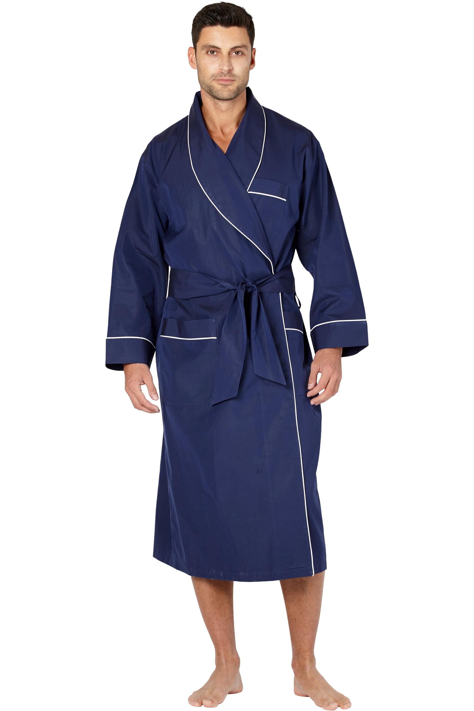 INTIMO Mens Elegant Navy Cotton Woven Robe