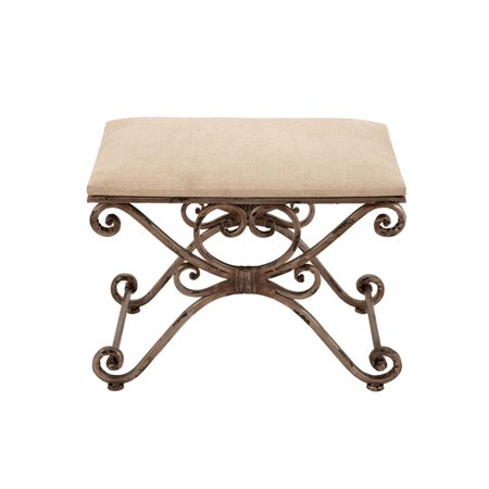 Decmode Traditional Metal and Linen Cushioned Stool, Brass