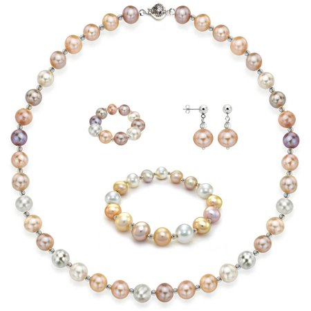 "Image of 4-Piece Set with 10mm x 11mm Multi Pink Freshwater Pearl Necklace Sterling Silver Chain 18"" with Ball Clasp, Matching Stretch Bracelet, Matching Earring, & Matching Stretch Ring, Silver Beaded"