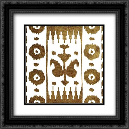 Golden Opportunity Suzani II 2x Matted 20x20 Black Ornate Framed Art Print by Nancy Green Design