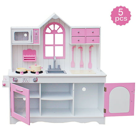 Kids Play Kitchen, Wood Kitchen Toy Cooking Pretend Play Set, Kitchen Playset w/ 5 Piece Cookware Accessory Set, Play Kitchen Set for Girl/Boy, Toddler Wooden Playset, Birthday/Christmas Gift, W5415 Better Homes And Garden Kitchens
