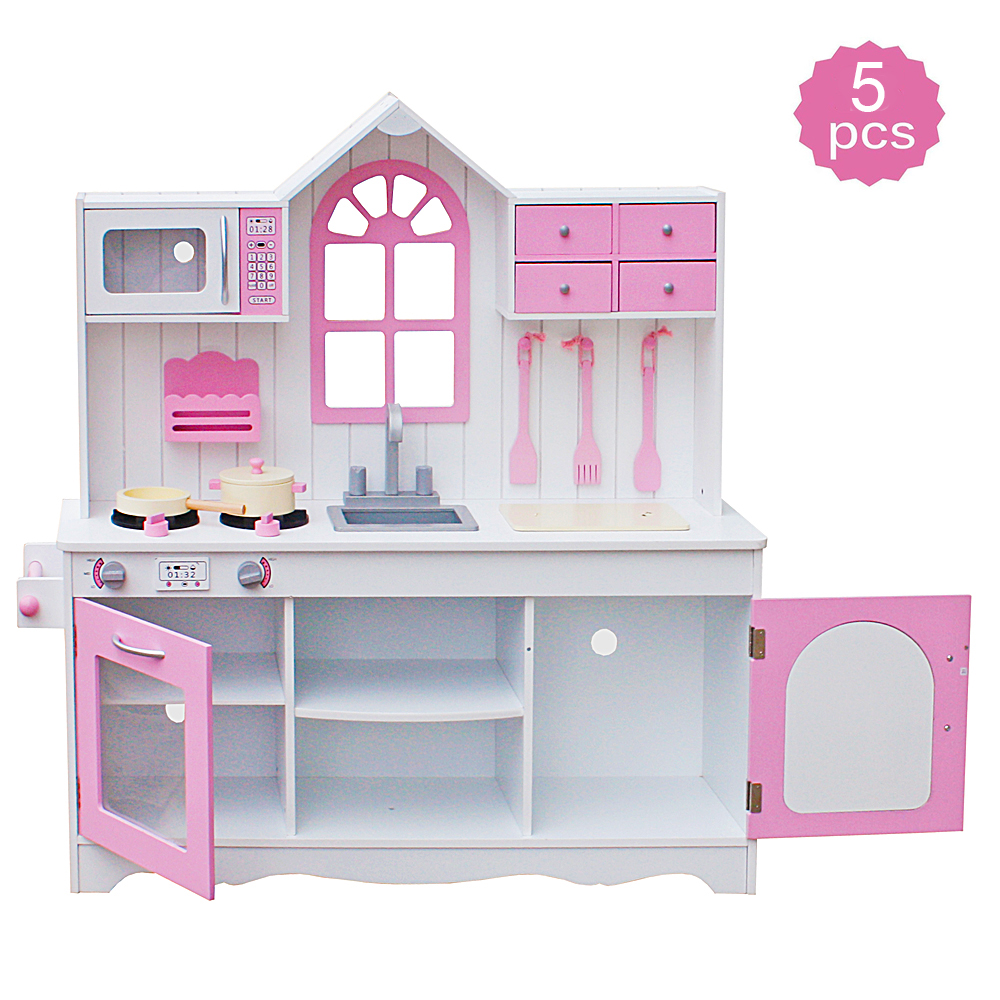 43 Pcs Pretend Cooking Tableware Playset Pink Toys Kitchen Set for Kids