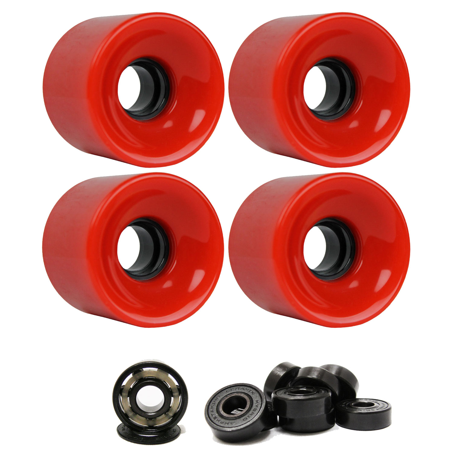 LONGBOARD CRUISER WHEELS 62mm x 51.5mm 83A 186C Red CERAMIC BEARINGS