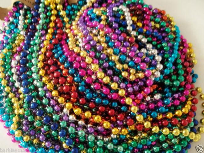 72 Multi Color Mardi Gras Beads Necklaces Party Favors 6 Dozen Lot