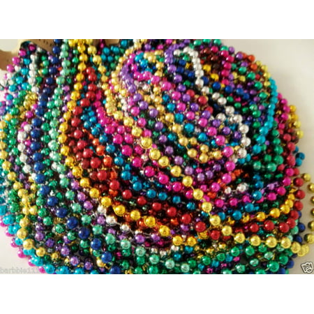 72 Multi-Color Mardi Gras Beads Necklaces Party Favors 6 Dozen - Mardis Gras Beads