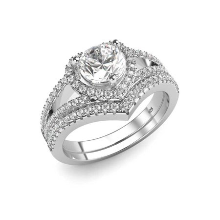 Sz 7 Sterling Silver 925 Cubic Zirconia CZ Heart Engagement Wedding Band Ring 2Pc Set