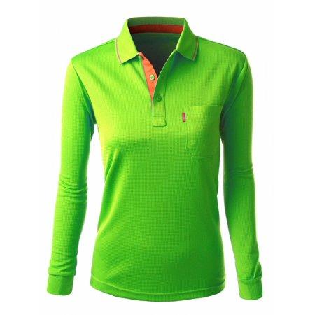 FashionOutfit Women\'s Cool Max Fabric Sporty Design 2 Tone Collar Polo T  Shirt