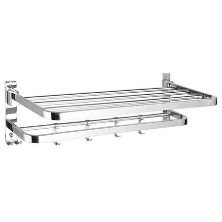GHP Stainless Steel Rust-Resistant Foldable Top Shelf 4-Sliding Hooks Glossy Towel Rack