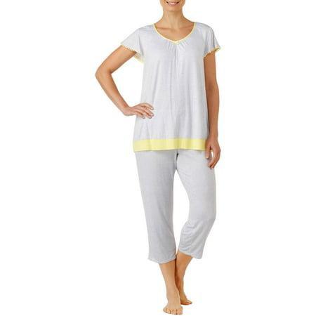 Secret Treasures Women's and Women's Plus Flutter Sleeve Rayon Spandex Printed 2 Piece Sleepwear Set