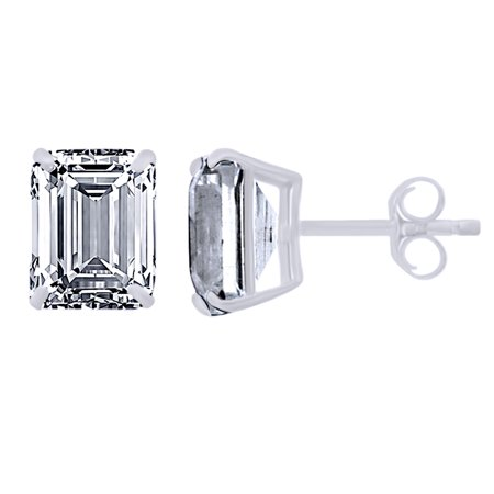 Emerald Cut Simulated White Sapphire Solitaire Stud Earrings In 10K Solid White Gold