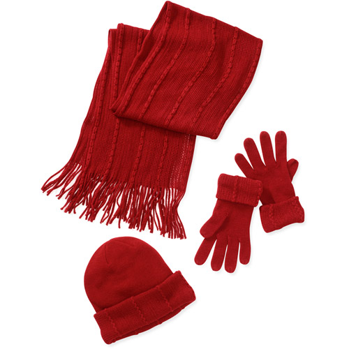 s 3 cable knit hat gloves and scarf set