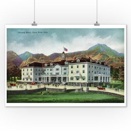 Rocky Mountain National Park   Exterior View Of The Stanley Hotel  Estes Park   Vintage Halftone  9X12 Art Print  Wall Decor Travel Poster