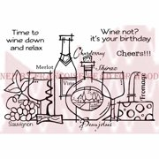 """Woodware Clear Stamps 3.5""""X5.5""""-Time To Wine Down"""