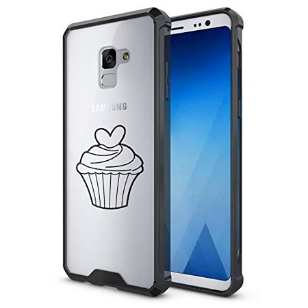 For Samsung Galaxy Clear Shockproof Bumper Case Hard Cover Heart Cupcake (Black For Samsung Galaxy S9 + (Plus))