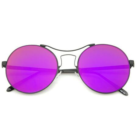 sunglassLA - Modern Thin Metal Frame Curved Brow Bar Colored Mirror Flat Lens Round Sunglasses - (Flat Brow Sunglasses)