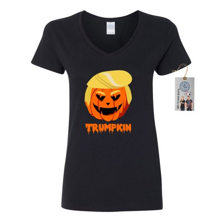 Trumpkin Pumpkin Halloween Shirt Womens V Neck T-Shirt - Ladies Halloween Tee Shirts