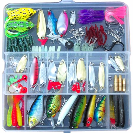 100 PCS Fishing Lures Kit Fishing tackle box Lures Crank baits Hooks Minnow Bass Baits (Lake Erie Smallmouth Bass)