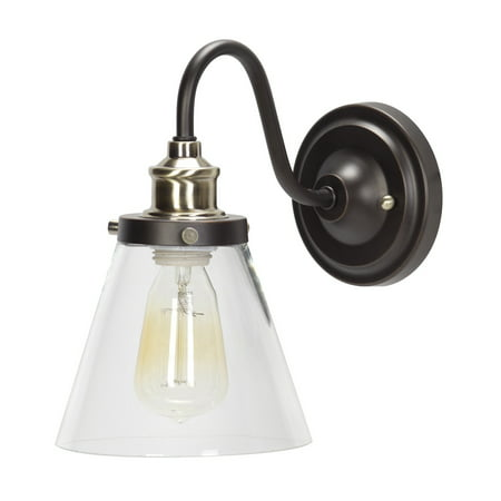 Globe Electric Jackson 1-Light Oil Rubbed Bronze and Antique Brass Wall Sconce, 64932