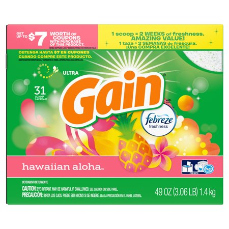Gain Powder Detergent (Gain Powder Laundry Detergent for Regular and HE Washers, Hawaiian Aloha Scent, 34 ounces 30 loads )