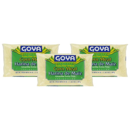 (3 Pack) Goya Enriched Corn Meal, Extra Fine Yellow, 24 oz