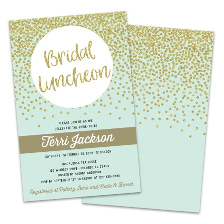 Personalized Gold Dots Bridal Luncheon Invitations
