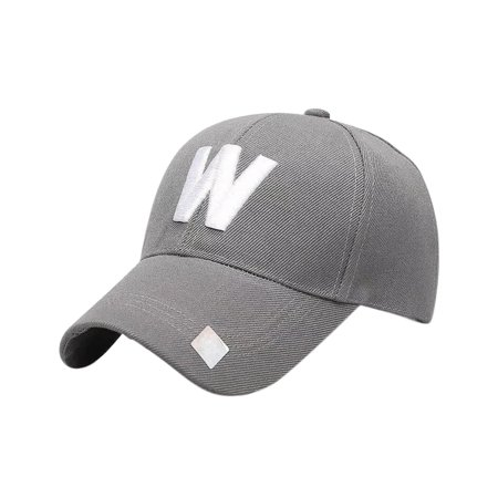 Classic W Letter Baseball Hat Outdoor Travelling Couple Peaked Cap Simple Sunshade Monogrammed Cap ()