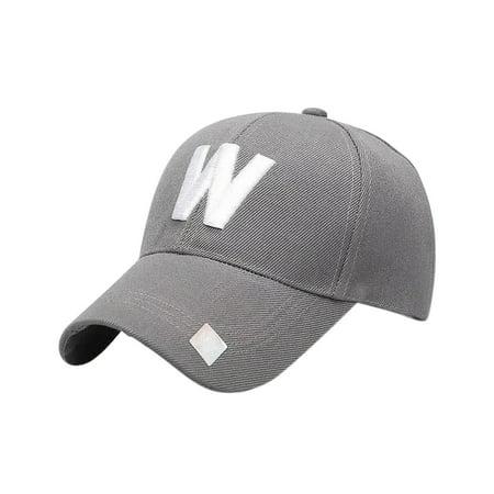 Monogram Baseball (Classic W Letter Baseball Hat Outdoor Travelling Couple Peaked Cap Simple Sunshade Monogrammed Cap )