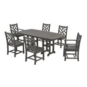 Recycled Earth-Friendly 7-Piece Outdoor Table and Chairs Dining Set - Slate Gray