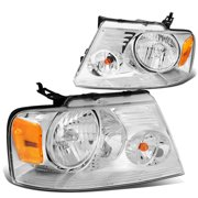 For 2004 to 2008 Ford F150 11th Gen Chrome Housing Amber Corner Headlight Headlamp 05 06 07 Left + Right