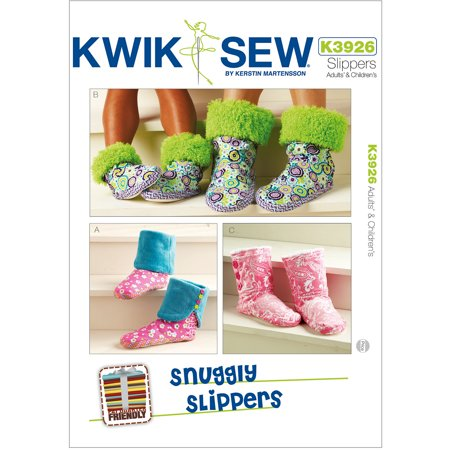 Kwik Sew Pattern Snuggly Slippers, Adult and Children (XS, S, M, L, XL) Easy Free Sewing Patterns