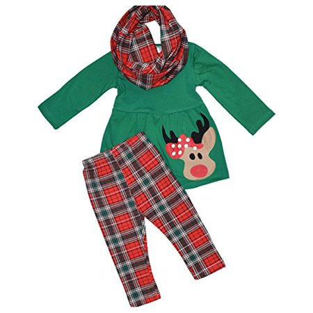 Girls 3 Piece Christmas Rudolph Legging Set (8) Red](Rudolf Outfit)