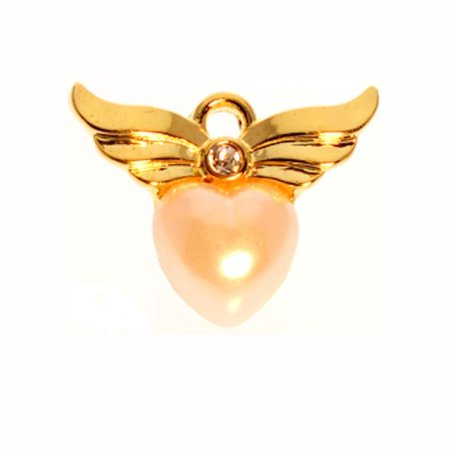 Angel Wings with Heart Brooch Pin Gold and Pearl  Set of 2
