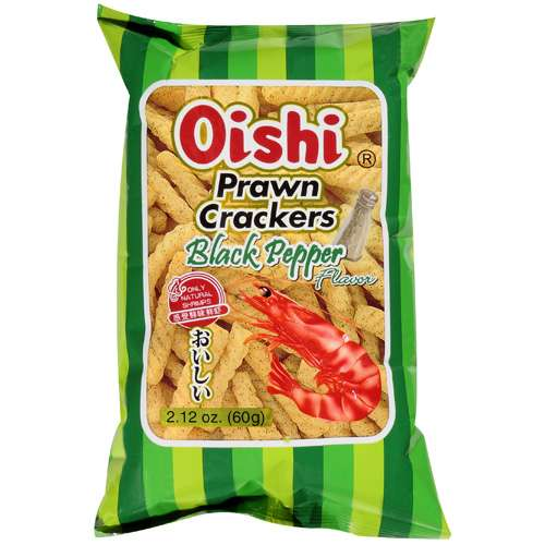 Oishi: Prawn Black Pepper Flavor W/Only Natural Shrimps Crackers, 2.12 Oz